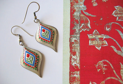 Classic, Mughal-inspired, stylized navette enamel earrings