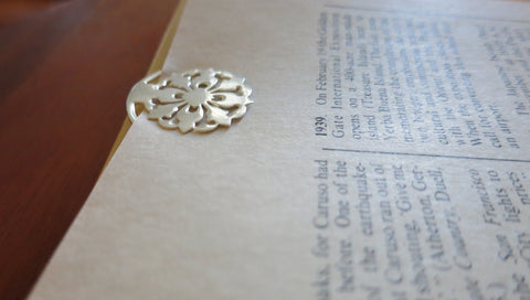 Small round floral pattern cutwork Bookmark (PBR-002)  Bookmarks Sterling silver handcrafted jewellery. 925 pure silver jewellery. Earrings, nose pins, rings, necklaces, cufflinks, pendants, jhumkas, gold plated, bidri, gemstone jewellery. Handmade in India, fair trade, artisan jewellery.