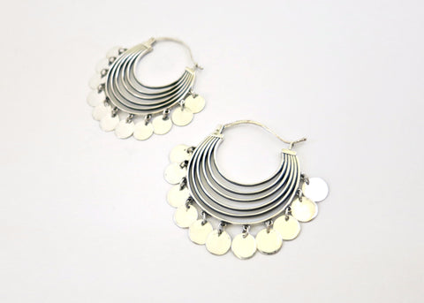Shimmering, dramatic, concentric arcs hoops with a discs fringe (PB-10263-ER)  Earrings Sterling silver handcrafted jewellery. 925 pure silver jewellery. Earrings, nose pins, rings, necklaces, cufflinks, pendants, jhumkas, gold plated, bidri, gemstone jewellery. Handmade in India, fair trade, artisan jewellery.