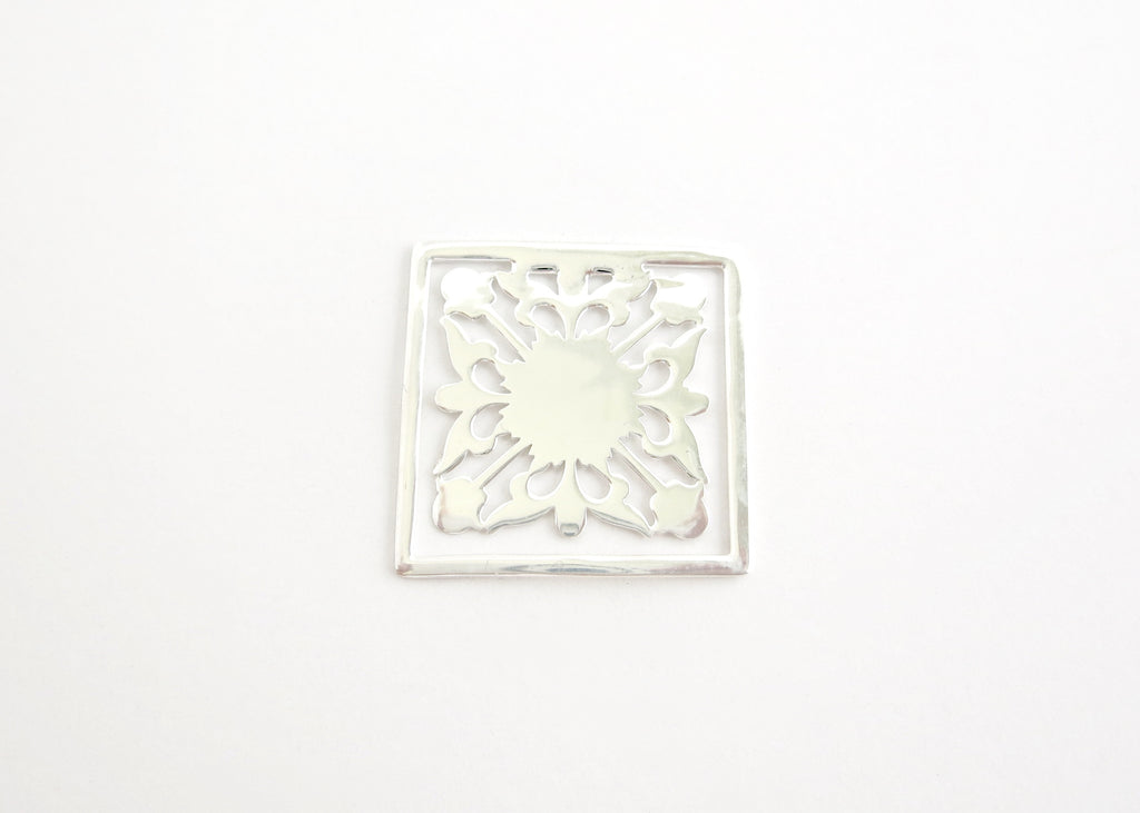 Square, floral pattern, cutwork Bookmark  Bookmarks Sterling silver handcrafted jewellery. 925 pure silver jewellery. Earrings, nose pins, rings, necklaces, cufflinks, pendants, jhumkas, gold plated, bidri, gemstone jewellery. Handmade in India, fair trade, artisan jewellery.