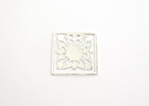 Square floral pattern cutwork Bookmark (PBR-004)  Bookmarks Sterling silver handcrafted jewellery. 925 pure silver jewellery. Earrings, nose pins, rings, necklaces, cufflinks, pendants, jhumkas, gold plated, bidri, gemstone jewellery. Handmade in India, fair trade, artisan jewellery.