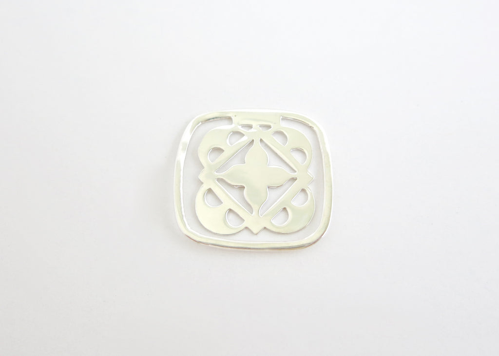Small rounded square cutwork Bookmark (PBR-007)  Bookmarks Sterling silver handcrafted jewellery. 925 pure silver jewellery. Earrings, nose pins, rings, necklaces, cufflinks, pendants, jhumkas, gold plated, bidri, gemstone jewellery. Handmade in India, fair trade, artisan jewellery.