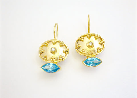 Beautiful oval gold plated earrings with navette shape blue topaz (PB-2176-ER)  Earrings Sterling silver handcrafted jewellery. 925 pure silver jewellery. Earrings, nose pins, rings, necklaces, cufflinks, pendants, jhumkas, gold plated, bidri, gemstone jewellery. Handmade in India, fair trade, artisan jewellery.