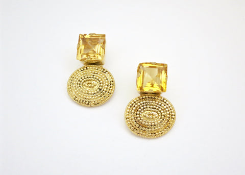 Glamorous square facetted citrine gold plated rava work earrings (PB-2144-ER)  Earrings Sterling silver handcrafted jewellery. 925 pure silver jewellery. Earrings, nose pins, rings, necklaces, cufflinks, pendants, jhumkas, gold plated, bidri, gemstone jewellery. Handmade in India, fair trade, artisan jewellery.