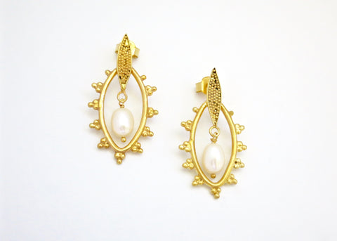 Elegant, Grecian, gold-plated earrings with granulation work and a center pearl drop