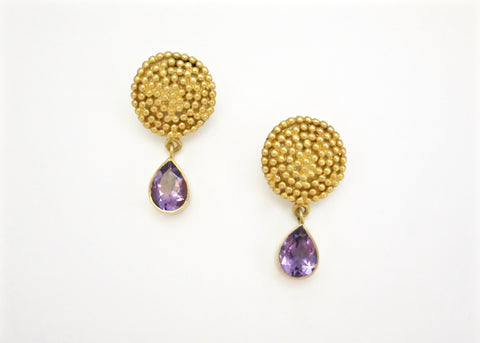 Elegant Grecian granulation work round earrings with amethyst drop (PB-2164-ER)