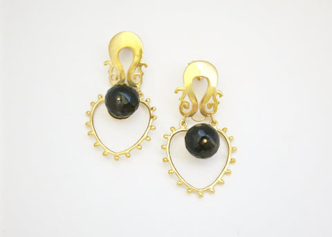 Grecian gold plated earrings with smoky topaz (PB-2179-ER)