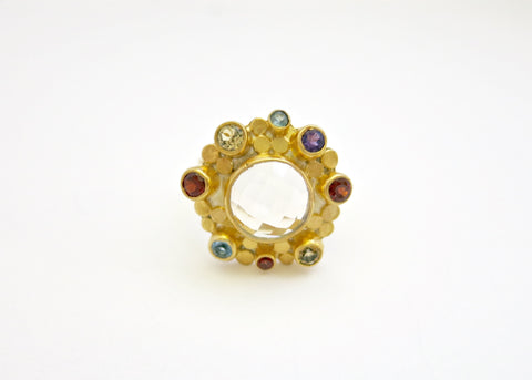 Beautiful facetted rock crustal and multi colour gemstone gold plated ring (PB-1372-R)  Ring Sterling silver handcrafted jewellery. 925 pure silver jewellery. Earrings, nose pins, rings, necklaces, cufflinks, pendants, jhumkas, gold plated, bidri, gemstone jewellery. Handmade in India, fair trade, artisan jewellery.