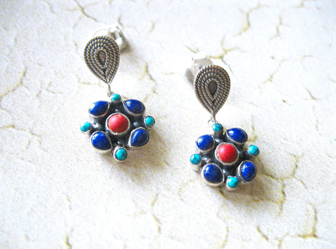 Elegant artistic turquoise, lapis and coral dangle earrings (PB-2188-ER)  Earrings Sterling silver handcrafted jewellery. 925 pure silver jewellery. Earrings, nose pins, rings, necklaces, cufflinks, pendants, jhumkas, gold plated, bidri, gemstone jewellery. Handmade in India, fair trade, artisan jewellery.