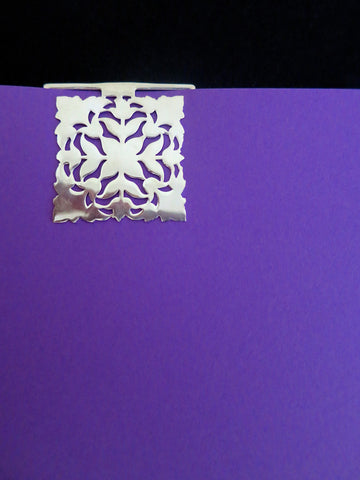 Square, floral pattern, cutwork Bookmark