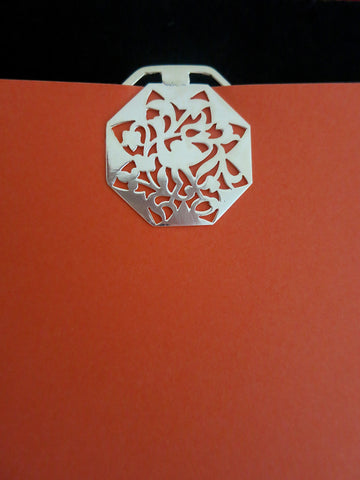 Octagonal, crane design, cutwork Bookmark
