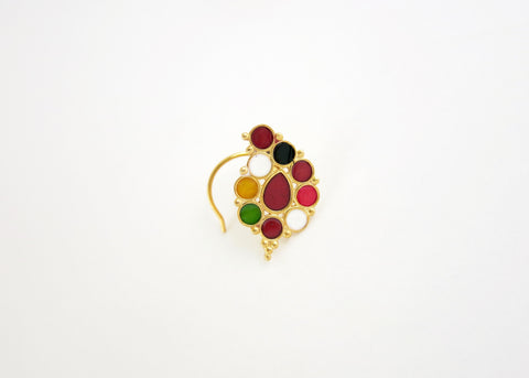 NEW! Gold plated traditional 'ambi' enamel nose pin (PB-046-NP)