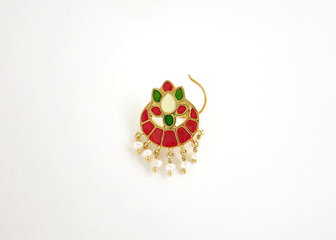 NEW! Dramatic, traditional Indian gold-plated, enamel nose pin with dangling pearls