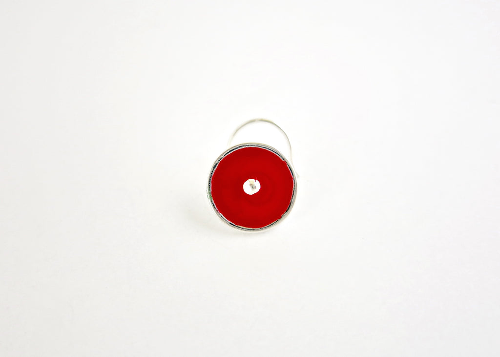 NEW! Chic red round enamel nose pin (PB-030-NP)  Nose pin Sterling silver handcrafted jewellery. 925 pure silver jewellery. Earrings, nose pins, rings, necklaces, cufflinks, pendants, jhumkas, gold plated, bidri, gemstone jewellery. Handmade in India, fair trade, artisan jewellery.