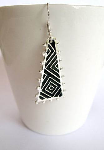 Chic, triangular, op-art earrings with fine hand painted black enamel work  Earrings Sterling silver handcrafted jewellery. 925 pure silver jewellery. Earrings, nose pins, rings, necklaces, cufflinks, pendants, jhumkas, gold plated, bidri, gemstone jewellery. Handmade in India, fair trade, artisan jewellery.