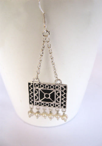 Dangling bohemian rectangular chain earrings with fine black enamel work (PB-4979-ER)  Earrings Sterling silver handcrafted jewellery. 925 pure silver jewellery. Earrings, nose pins, rings, necklaces, cufflinks, pendants, jhumkas, gold plated, bidri, gemstone jewellery. Handmade in India, fair trade, artisan jewellery.