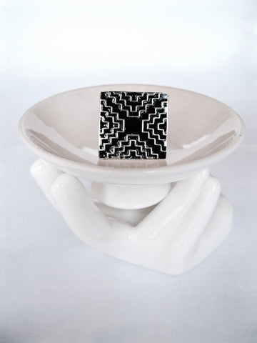 Chic square ring with geometric pattern in fine black enamel (PB-7060-R)  Ring Sterling silver handcrafted jewellery. 925 pure silver jewellery. Earrings, nose pins, rings, necklaces, cufflinks, pendants, jhumkas, gold plated, bidri, gemstone jewellery. Handmade in India, fair trade, artisan jewellery.