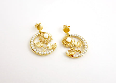 Ravishing, gold plated, seed pearl crescent & flower Victorian earrings [PB-10456-ER (G)]  Earrings Sterling silver handcrafted jewellery. 925 pure silver jewellery. Earrings, nose pins, rings, necklaces, cufflinks, pendants, jhumkas, gold plated, bidri, gemstone jewellery. Handmade in India, fair trade, artisan jewellery.