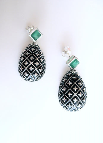 Timeless, drop shape earrings with green chrysoprase and fine black enamel work  Earrings Sterling silver handcrafted jewellery. 925 pure silver jewellery. Earrings, nose pins, rings, necklaces, cufflinks, pendants, jhumkas, gold plated, bidri, gemstone jewellery. Handmade in India, fair trade, artisan jewellery.