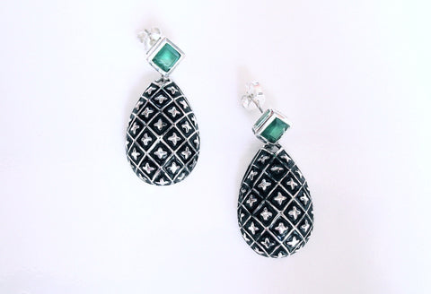 Timeless, drop shape earrings with green chrysoprase and fine black enamel work