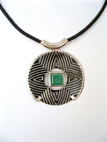 Gorgeous round pendant with fine black enamel work accented by green chrysoprase (PB-4866-P)  Necklace, Pendant Sterling silver handcrafted jewellery. 925 pure silver jewellery. Earrings, nose pins, rings, necklaces, cufflinks, pendants, jhumkas, gold plated, bidri, gemstone jewellery. Handmade in India, fair trade, artisan jewellery.