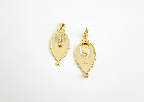 Exquisite, gold plated, inverted-drop shape Victorian earrings [PB-10464-ER (G)]  Earrings Sterling silver handcrafted jewellery. 925 pure silver jewellery. Earrings, nose pins, rings, necklaces, cufflinks, pendants, jhumkas, gold plated, bidri, gemstone jewellery. Handmade in India, fair trade, artisan jewellery.