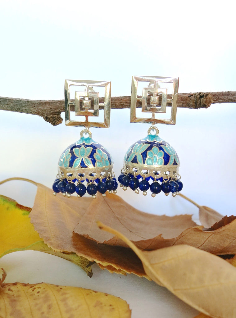 Contemporary Nathdwara enameling jhumkas with square cut out top (PB-7819-ER)  Earrings Lai designer sterling silver 925 jewelry that is global culture inspired artisanal handcrafted handmade contemporary sustainable conscious fair trade online brand shop
