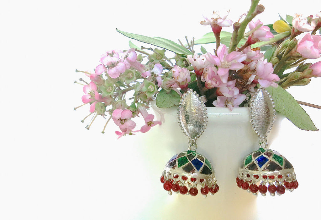 Gorgeous Nathdwara enameling jhumkas with navette brush finish tops (PB-7818-ER) - Lai - 1