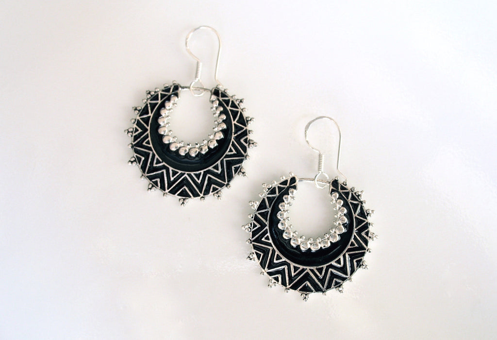 Exquisite crescent shape dangle earrings with fine black enamel work (PB-4997-ER)  Earrings Sterling silver handcrafted jewellery. 925 pure silver jewellery. Earrings, nose pins, rings, necklaces, cufflinks, pendants, jhumkas, gold plated, bidri, gemstone jewellery. Handmade in India, fair trade, artisan jewellery.