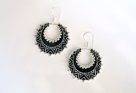 Exquisite, crescent shape, dangle earrings with fine black enamel work