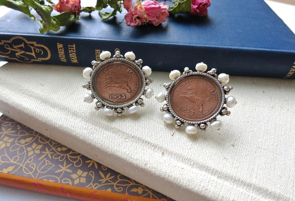 Glamorous, vintage Indian-coin studs with pearls  Earrings Sterling silver handcrafted jewellery. 925 pure silver jewellery. Earrings, nose pins, rings, necklaces, cufflinks, pendants, jhumkas, gold plated, bidri, gemstone jewellery. Handmade in India, fair trade, artisan jewellery.