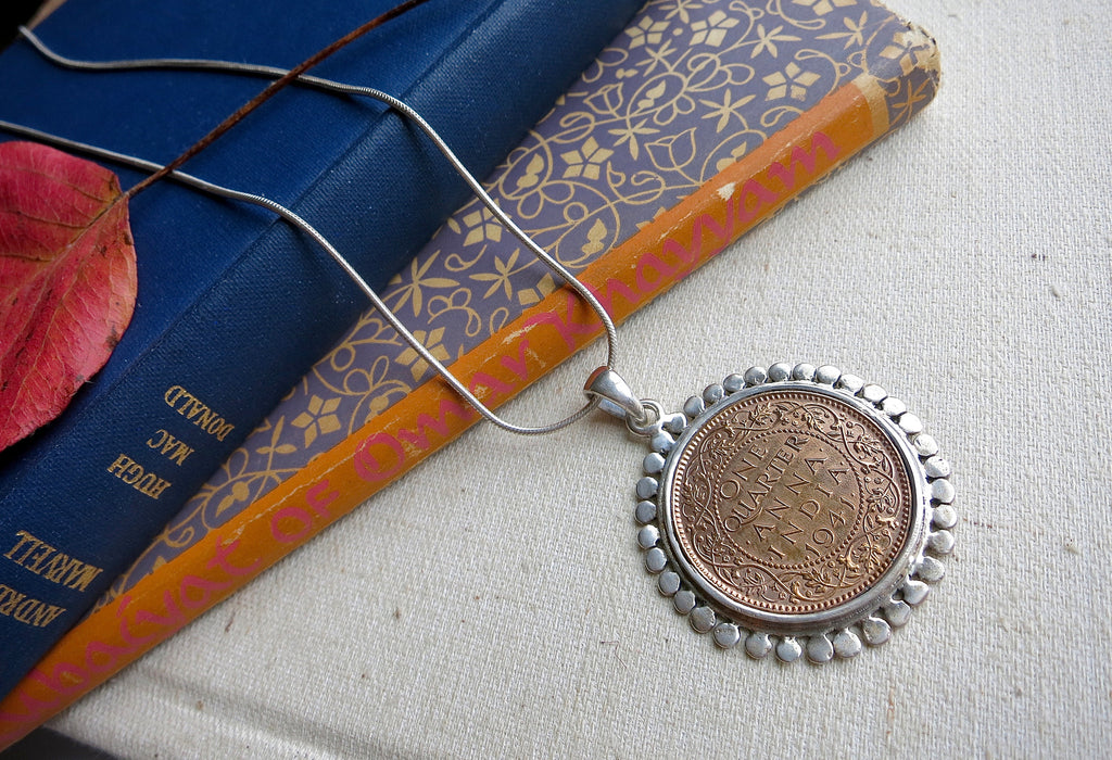 Statement vintage Indian coin pendant (PB-1511) - Lai