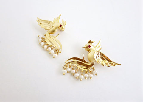 Timeless, pearl fringed, gold plated Victorian bird earrings [PB-10457-ER (G)]  Earrings Sterling silver handcrafted jewellery. 925 pure silver jewellery. Earrings, nose pins, rings, necklaces, cufflinks, pendants, jhumkas, gold plated, bidri, gemstone jewellery. Handmade in India, fair trade, artisan jewellery.