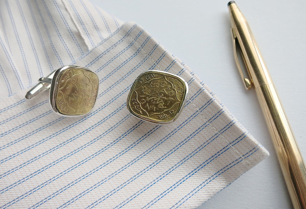 Classy vintage Indian coin square cufflinks (PB-39) - Lai - 1