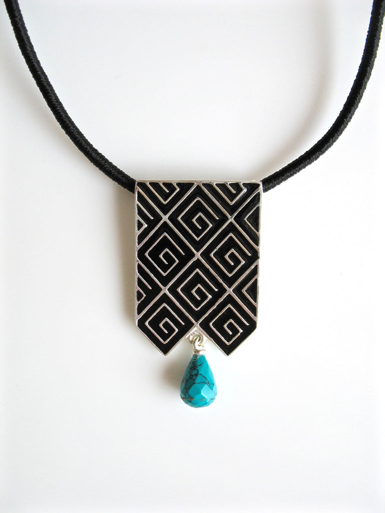 Stunning long rectangular pendant with fine black enamel work & a turquoise drop (PB-4872-P) -  - 1