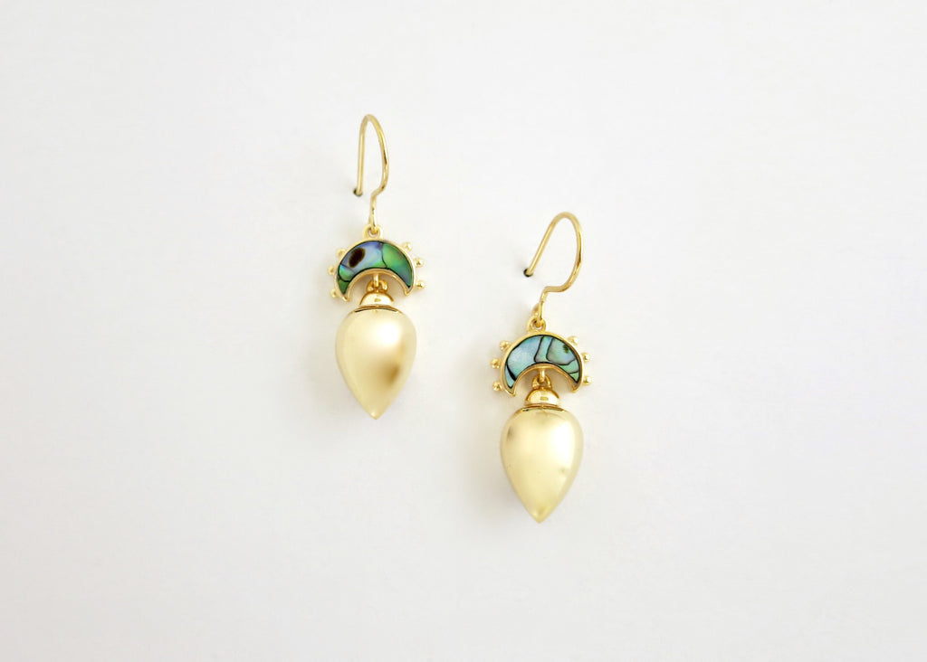 Minimalist, gold plated, Victorian, drop earrings with abalone [PB-10453-ER (G)]