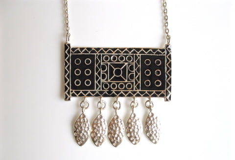 Stunning, bohemian, rectangular pendant necklace with a fringe and fine black enamel work