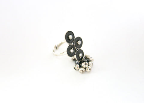 Neo-ethnic, timeless, pearl encrusted cluster ring- can also be worn as toe ring (PB-10435-R)