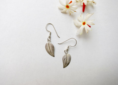 Delicate, light weight, leaf earrings (PBE-1002-ER)  Earrings Sterling silver handcrafted jewellery. 925 pure silver jewellery. Earrings, nose pins, rings, necklaces, cufflinks, pendants, jhumkas, gold plated, bidri, gemstone jewellery. Handmade in India, fair trade, artisan jewellery.