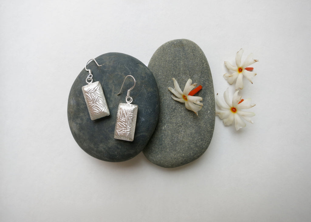 Textured small rectangular earrings (PBE-1003-ER)  Earrings Sterling silver handcrafted jewellery. 925 pure silver jewellery. Earrings, nose pins, rings, necklaces, cufflinks, pendants, jhumkas, gold plated, bidri, gemstone jewellery. Handmade in India, fair trade, artisan jewellery.