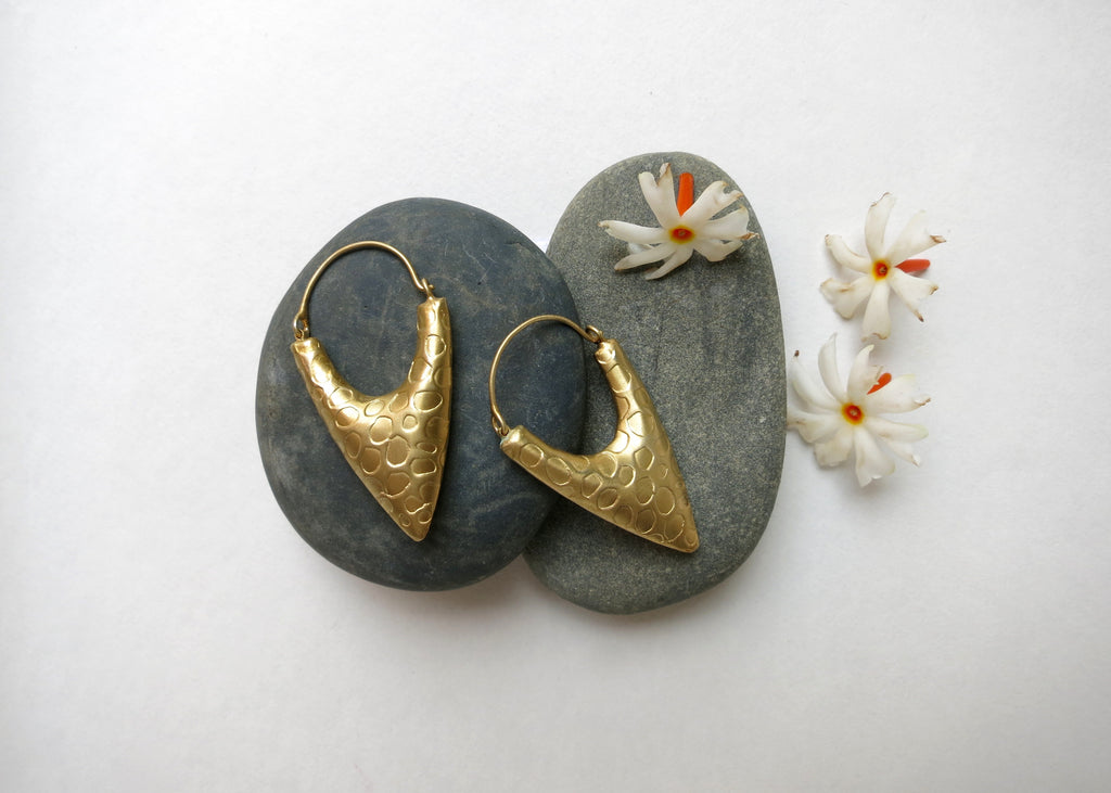 Dramatic, textured, gold plated arrowhead hoops (PBE-1007-ER)  Earrings Lai designer sterling silver 925 jewelry that is global culture inspired artisanal handcrafted handmade contemporary sustainable conscious fair trade online brand shop