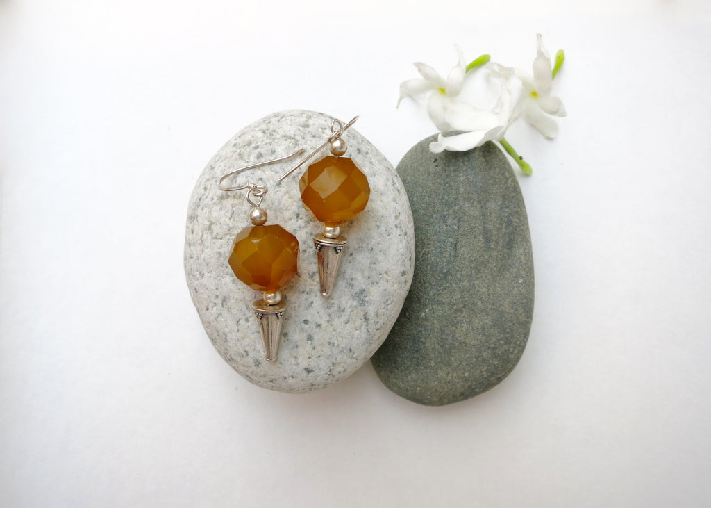 Exquisite, facetted yellow agate earrings with granulation work bead (PBE-1030-ER)  Earrings Lai designer sterling silver 925 jewelry that is global culture inspired artisanal handcrafted handmade contemporary sustainable conscious fair trade online brand shop