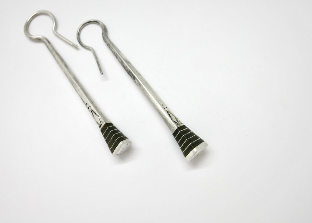 Long, dangling hand-facetted labradorite earrings with silver beads on top (PBE-1036-ER)  Earrings Lai designer sterling silver 925 jewelry that is global culture inspired artisanal handcrafted handmade contemporary sustainable conscious fair trade online brand shop