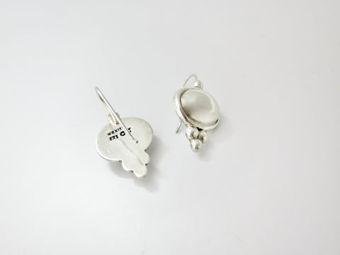 Dainty, everyday wear, Jasper and flat silver bead earrings (PBE-1038-ER)
