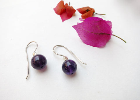 Minimalist, chic, amethyst earrings (PBE-1018-ER)  Earrings Sterling silver handcrafted jewellery. 925 pure silver jewellery. Earrings, nose pins, rings, necklaces, cufflinks, pendants, jhumkas, gold plated, bidri, gemstone jewellery. Handmade in India, fair trade, artisan jewellery.