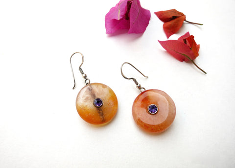 Simple, chic, orange banded agate dangling earrings set with facetted semi precious stone in center (PBE-1046-ER)  Earrings Sterling silver handcrafted jewellery. 925 pure silver jewellery. Earrings, nose pins, rings, necklaces, cufflinks, pendants, jhumkas, gold plated, bidri, gemstone jewellery. Handmade in India, fair trade, artisan jewellery.