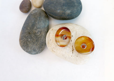 Minimalist, chic, orange banded agate studs set with facetted carnelian in center (PBE-1041-ER)