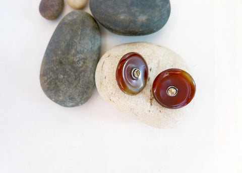 Minimalist, chic, maroon banded agate studs set with facetted citrine in center (PBE-1042-ER)