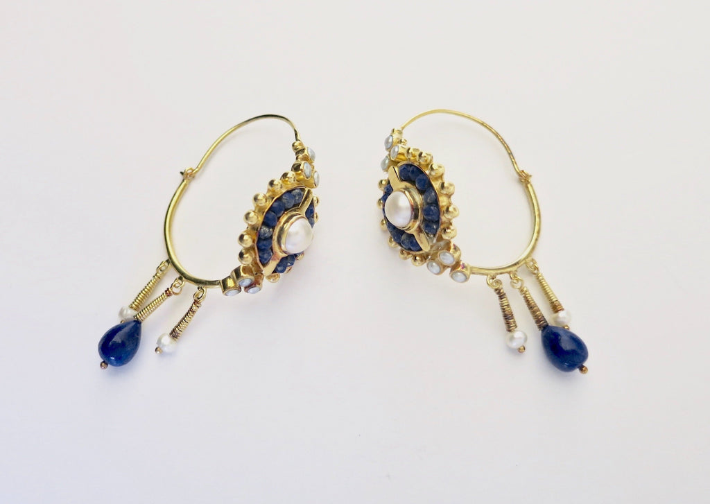 Exquisite, gold plated lapis and pearls hoops [PB-2921-ER (G)]  Earrings Sterling silver handcrafted jewellery. 925 pure silver jewellery. Earrings, nose pins, rings, necklaces, cufflinks, pendants, jhumkas, gold plated, bidri, gemstone jewellery. Handmade in India, fair trade, artisan jewellery.