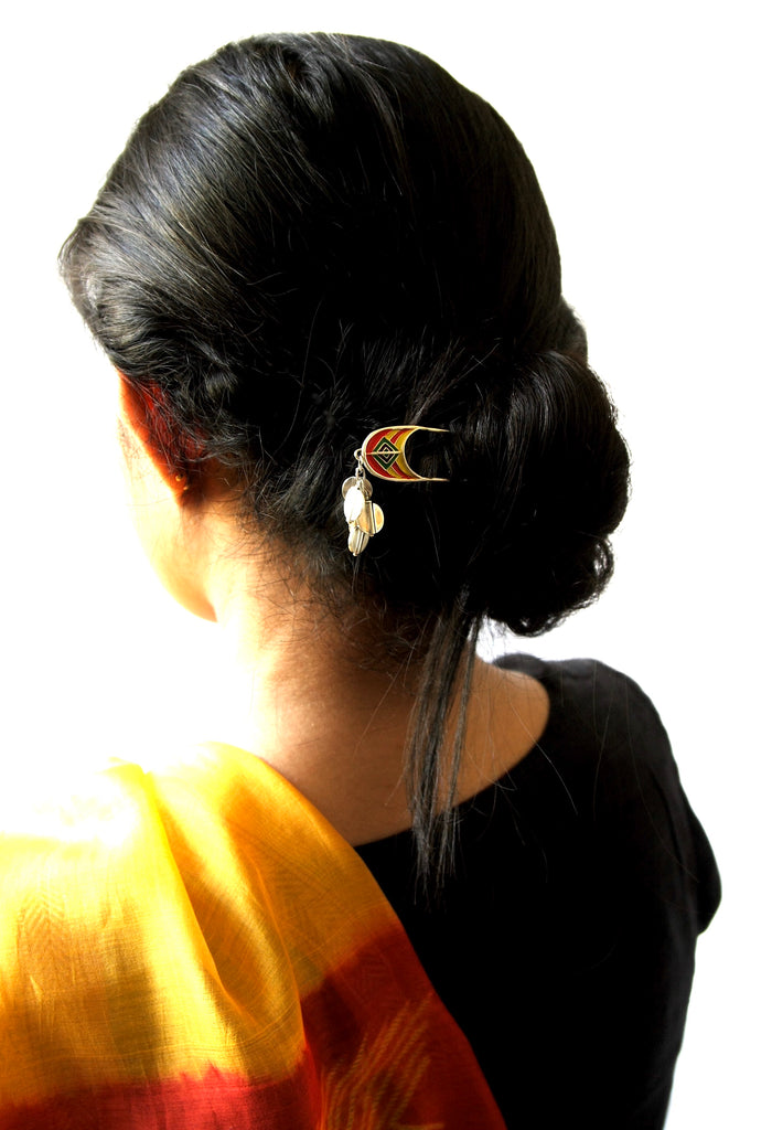 Whimsical, colorful, and artistic enamel-work bun stick  Hair ornament Sterling silver handcrafted jewellery. 925 pure silver jewellery. Earrings, nose pins, rings, necklaces, cufflinks, pendants, jhumkas, gold plated, bidri, gemstone jewellery. Handmade in India, fair trade, artisan jewellery.